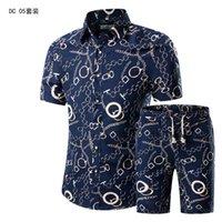 Summer Fashion Floral Print Shirts Men+Shorts Set Men Short Sleeve Shirts Casual Men Hawaii Clothing Sets Tracksuit Plus Size 5X