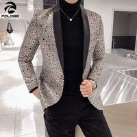 FOLOBE 2019 Luxury Blazers Masculino Slim Fit Stage Costumes...