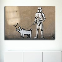 Banksy Keith Haring Dog Graffiti Wallpaper HD Canvas Paintin...