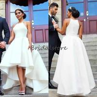 Moyen-Orient Haute Robe de mariée basse sans manches élégante frontale arrière courte courte campagne robe de mariée de campagne plus taille printemps romande de mariée asymétrique