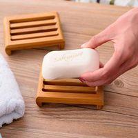 Platos de jabón de bambú natural Bandeja Holder Baño Jabón portaplatos envase de la caja
