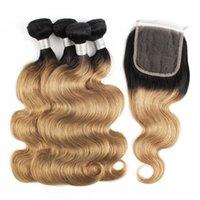 Cierre de pelo onda del cuerpo 4 paquetes con 4x4 cordón de Remy de la extensión del pelo humano 27 Honey Blonde brasileño D Ombre paquetes de pelo con el encierro 1b