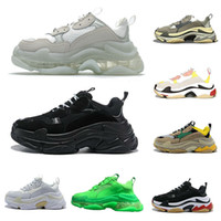 2021 Paris Triple S Clear Bottom Green Shoes Top Top Sneakers Hombre y Mujer Papá Plataforma Deportes Entrenadores Deportes 36-45