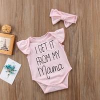 Les vêtements d'été pour bébé Romper Tenues Coveralls Onesie arc rose Bandeau deux pièces Set Vêtements enfants fille Bodysuit pour les enfants E3302