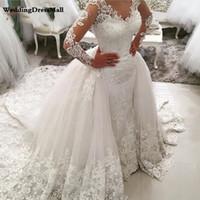 Роскошные кружева с длинным рукавом Русалка свадебное платье со съемной юбкой спинки суд поезд Саудовская Аравия свадебные платья Дубай