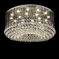Contemporáneo redondo de cristal LED Celling Light Rain drop K9 Crystal Candelabros Montaje empotrado Lámparas de techo LED Lustres Accesorios de iluminación