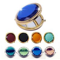Cristal Espejo de maquillaje portátil Ronda Doblado Espejo de bolsillo de plata compacto Espejos Oro recuperando el regalo personalizado