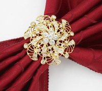 Flower Napkin Rings Rhinestone Napkin Holder Romantic Weddin...