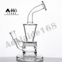 "7.7"" verre pipe à eau en verre + Gratuit Bowl Honey Comb Turbo Perc 14.5mm Femme Bong Dab Oil Rig verre Bongs Joint 978"