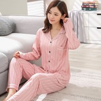2018 Automne Casual Rayé Maison Vêtements Filles Coton Pyjama Ensembles Femme À Manches Longues Pyjama Loungewear Homewear Pijama Pour Femmes Y19042803