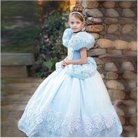 Light Blue Cinderella petite fille robes enfants princesse broderie Designs Puffy manches Flower Girl Robes pour les enfants