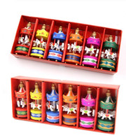 Ornements en bois de cheval de carrousel en bois Artisanat Décorations de Noël Mini Belle de Noël en bois Jouets pour enfants cadeaux Nouvel An Cadeaux de Noël