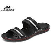 ALCUBIEREE Sommer-Breathable Herren Sandalen Gestreifte Hausschuhe flachen Flip Flops für Mann Sandalen Outdoor-Strand-Schuhe Anti-Rutsch-Slides