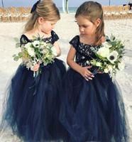 2019 Prenses Ucuz Güzel Sevimli Lacivert Uzun Dantel Çiçek Kız Elbise Kızı Toddler Güzel Çocuklar Pageant İlk Komünyon Elbise