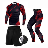 New 3 Pcs Set Men' s Tracksuit Sports Suit Gym Fitness C...