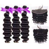Vrac indien brésilien péruvien malais vague profonde Curly Virgin Hair Weave 3 Bundles avec dentelle Frontal 100% Remy Closures Cheveux