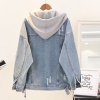 2019 Spring Boyfriend Denim Jacket Autumn Womens Giacche e cappotti Blue Lapel monopetto Zip Casual Fall JacketEmbroidery Staccabile Ho
