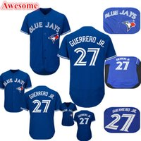 27 chandails Vladimir Guerrero Jr Jersey Hommes Toronto Baseball Blue Stitched
