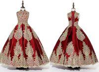 Burgundy 골드 레이스 Applique 어린 소녀 미인 드레스 크리스탈 페르시 스팽글 페르시 키즈 댄스 파티 꽃 여자 드레스
