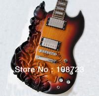 2019 새로운 SG 조각 해골 일렉트릭 기타와 마호가니 바디 햇살 색 무료 배송