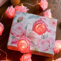 LED 핑크 장미 꽃 문자열 조명 배터리 웨딩 홈 파티 생일 축제 실내 실외 장식 대형 장미 꽃을 위해 운영