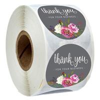 Rouleau floral merci autocollants enduit de papier étiquetage étiquettes étiquettes autocollants de l'enveloppe artisanale à la main enveloppe de l'enveloppe d'invitation merci stickers