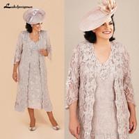 Plus Size Lace Mutter der Braut passt Kleider mit langer Jacke knielangen Langarm Mutter des Bräutigams Kleider