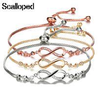 CUTEECO European Simple Charm Bracelets For Women Cubic Zirconia Infinity Tennis Bracelet Femme Fashion Jewelry Gifts