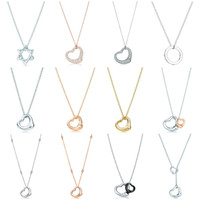 Original 100% 925 Sterling Silver Love Classic Love Double Anillo Forma Collar Colgante Rosa Oro Plata Elegante Collar Joyería