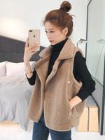 caldo inverno turno 2019 le donne del nuovo collare giù senza maniche cappotto giacca pelliccia di agnello finto gilet casacos S M L XL XXL 3XL