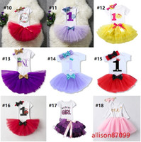 Hotsale Boutique Ins Baby Birthday tutu Outfits Clothing 1st...