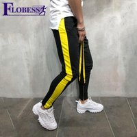 2019 Hot Sale Mens Panelled Striped Sports Pants Running Tro...