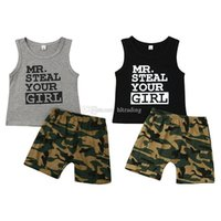 Baby boys outfits children letter print top+ Camouflage short...
