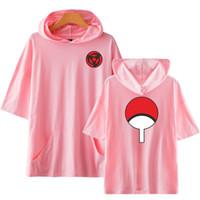 Yeni Satış Yaz Moda Anime Naruto Uchiha Sasuke Aile Rozet Baskı Kapşonlu Tişörtlü Yüksek Kalite Kısa Kollu Tshirt Tees