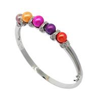 925 серебряный инкрустированный натуральный пресноводный жемчуг браслет 6-7 мм цветной жемчуг ювелирные изделия женские модели роскошные изысканные праздничные подарки