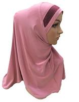 Этническая одежда Простой шарф женская мусульманка один кусок Amira Hijab исламская головная крышка Hijabs Head Cover Wrap Shaull Turban Niqab Soft Headscarf Арабский Химар