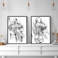 2 unids Negro Blanco Lienzo Pintura Al Óleo Abstracta Sexy Mujeres y hombre Imágenes de Impresión Minimalista Dormitorio Decoración Del Hogar Arte de La Pared Impreso Sin marco