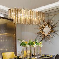 Retângulo de iluminação lustre de cristal para Hotel Villa restaurante sala de jantar contemporânea luxo luzes pingente de ouro levou lâmpadas penduradas