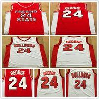 NCAA Fresno State Bulldogs Paul # 24 조지 대학 농구 유니폼 스티치 레드 화이트 폴 조지 24 대학 농구 셔츠 S-XXL