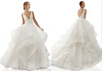 Modest Ball Gown Wedding Dresses With Ruffles Organza V neck...