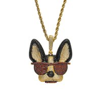 Brass CZ Large Witty dog with glasses Pendants Iced Out Hip ...