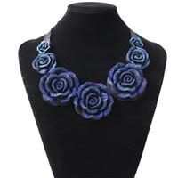 장미 목걸이 새로운 패션 보석 큰 수지 크리스탈 블루 꽃 목걸이 펜던트 문 턱받이 chunky 초커 목걸이