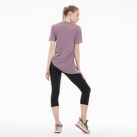 Голые чувствительные ткани Свободные тренажерные тренировочные тренировки Tops Футболка йоги Женщины Дышащие Обычные Фитнес Спорт Спорт Рубашки с короткими рукавами