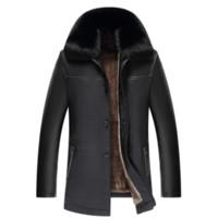 Veste en cuir Faux hommes Vêtements d'hiver 2018 col fourrure Automne manteau épais Faux cuir Vestes Veste Cuero Hombre ZL1038