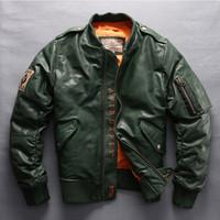 AVIREX  2019 Men's Genuine Leather Down Coat Vintage Sheepskin Jacket Section Casual Coat Motorcycle Biker Jacket Plus Size