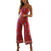Jumpseau pour femmes Rompers Sexy Womens Combinaison floral imprimé pantalon jambe pantalon sans manches bracelet dossier long femmes femmes vêtements vêtements été