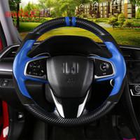 Hand Naaien Carbon Fiber Blue Lederen Stuurhoes voor Honda Civic 10th Cider 2019 CRV