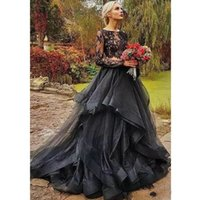 Modest Black Gothic Two Pieces Wedding Dresses Jewel Neck Il...