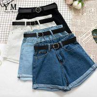 Женские шорты Yuoomuoo Все матча Sashes повседневные женские джинсовые обжимные высокие талии тонкие летние джинсы Феминино шикарные дамы дна