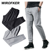 WIROFKER Men Casual Long Pants New Solid Color Mesh Breathab...